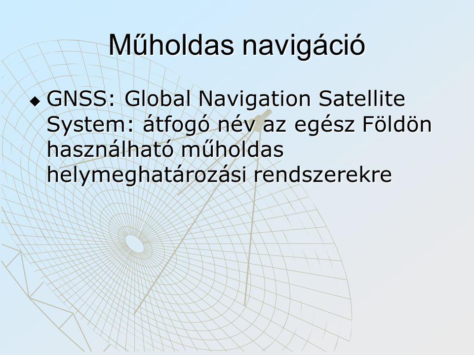 Műholdas navigáció GNSS: Global Navigation Satellite System: átfogó név az egész Földön használható műholdas helymeghatározási rendszerekre.