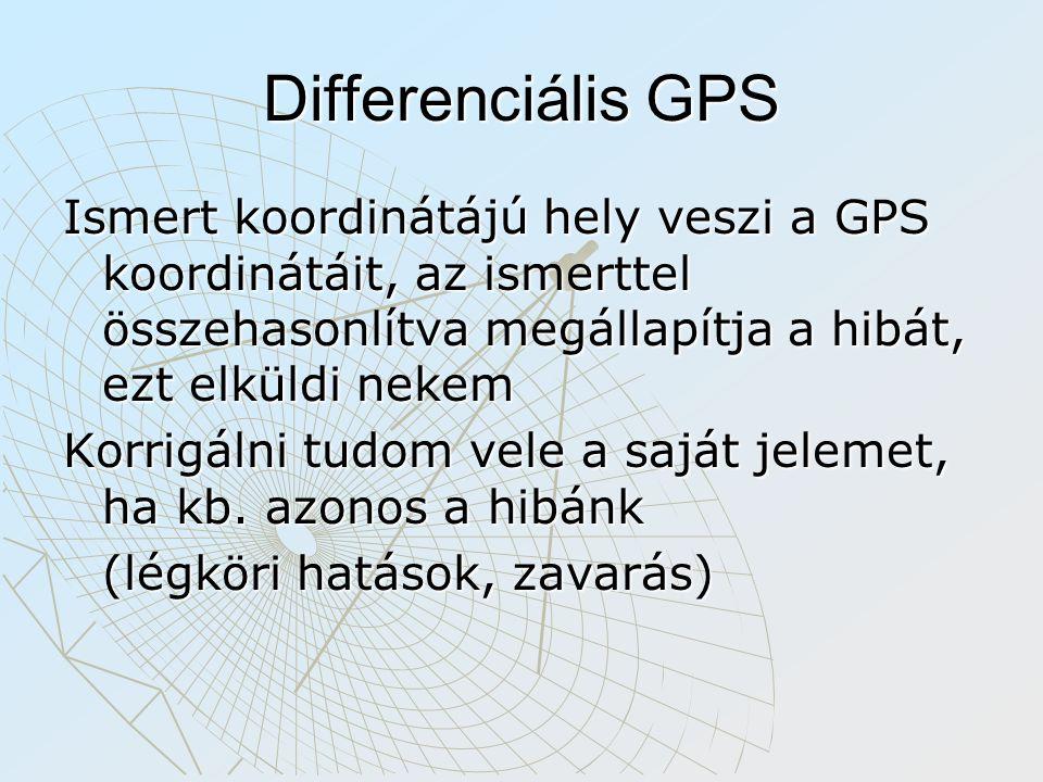 Differenciális GPS Ismert koordinátájú hely veszi a GPS koordinátáit, az ismerttel összehasonlítva megállapítja a hibát, ezt elküldi nekem.