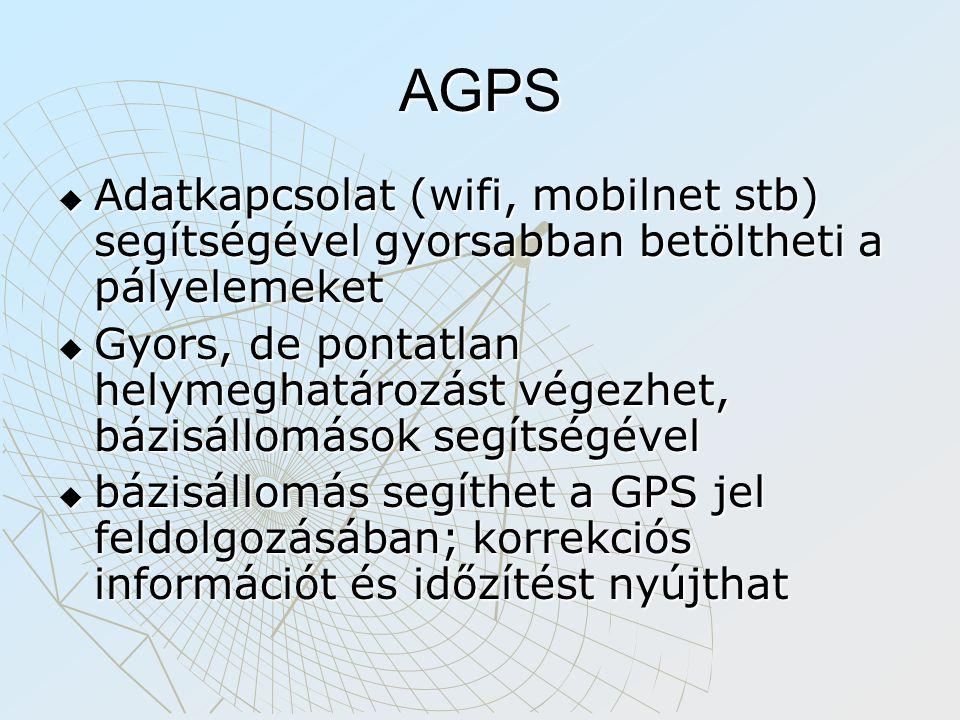 AGPS Adatkapcsolat (wifi, mobilnet stb) segítségével gyorsabban betöltheti a pályelemeket.