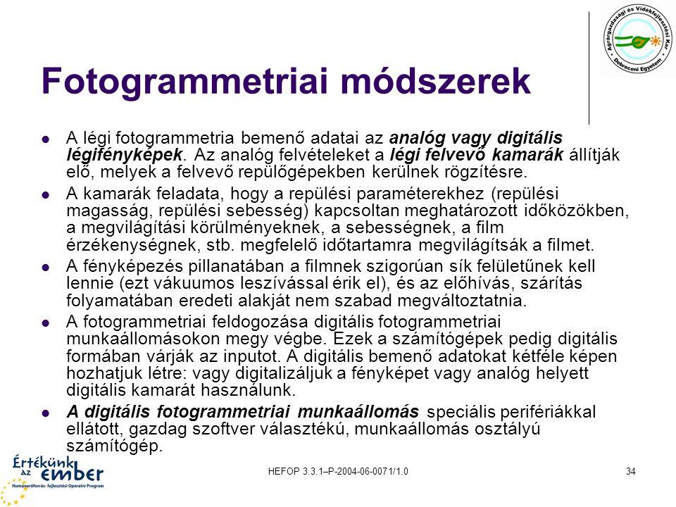 Fotogrammetriai módszerek