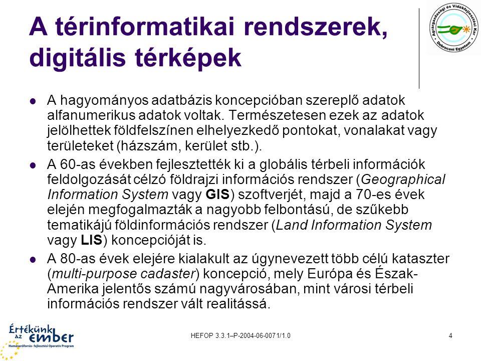 A térinformatikai rendszerek, digitális térképek