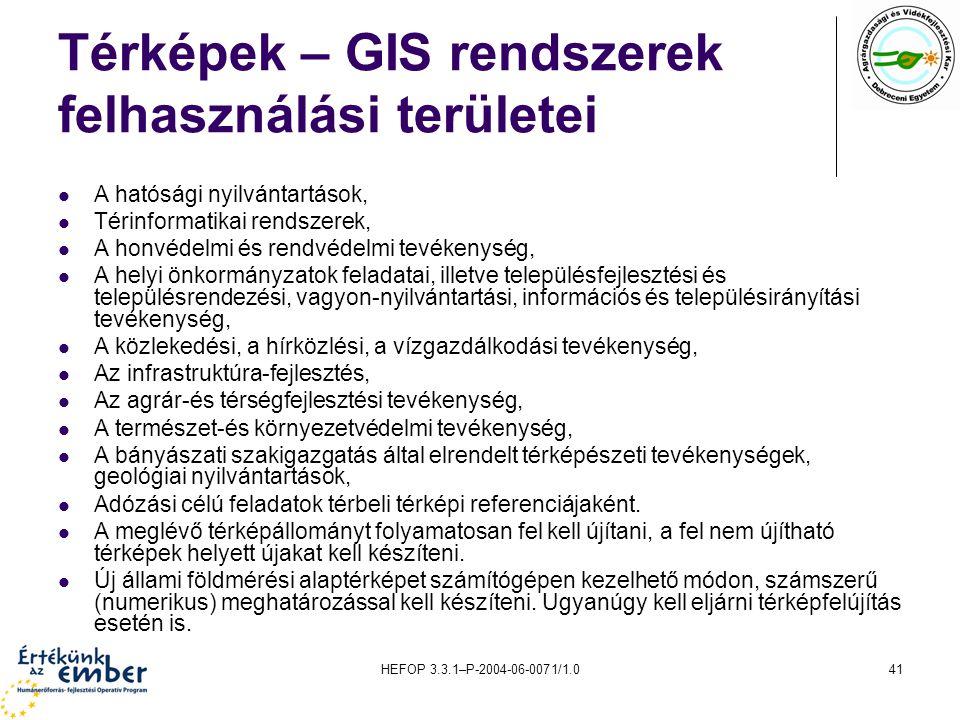 Térképek – GIS rendszerek felhasználási területei