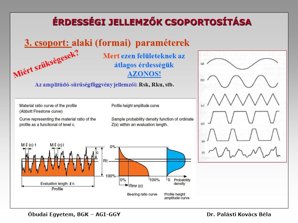 3. csoport: alaki (formai) paraméterek