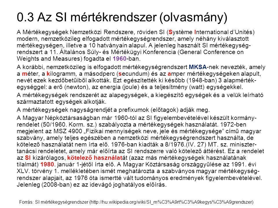 0.3 Az SI mértékrendszer (olvasmány)