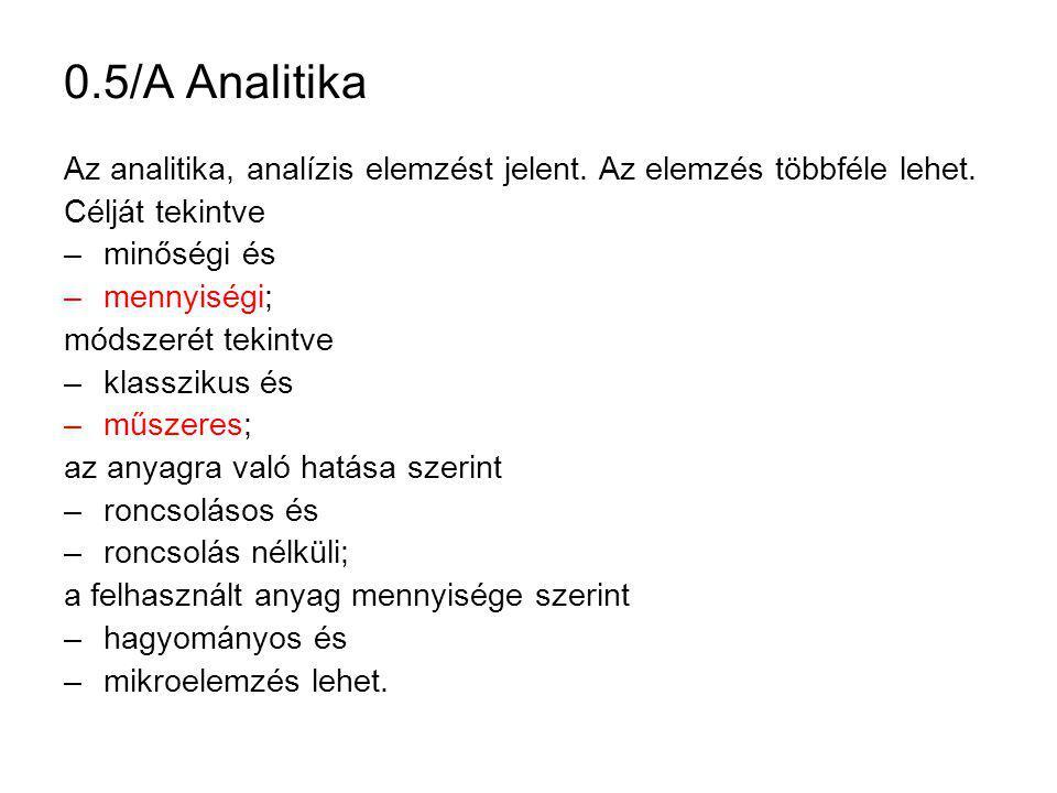 0.5/A Analitika Az analitika, analízis elemzést jelent. Az elemzés többféle lehet. Célját tekintve.