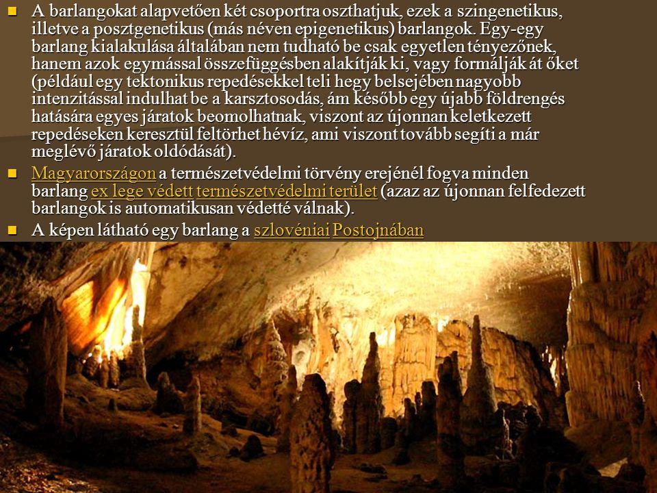 A barlangokat alapvetően két csoportra oszthatjuk, ezek a szingenetikus, illetve a posztgenetikus (más néven epigenetikus) barlangok. Egy-egy barlang kialakulása általában nem tudható be csak egyetlen tényezőnek, hanem azok egymással összefüggésben alakítják ki, vagy formálják át őket (például egy tektonikus repedésekkel teli hegy belsejében nagyobb intenzitással indulhat be a karsztosodás, ám később egy újabb földrengés hatására egyes járatok beomolhatnak, viszont az újonnan keletkezett repedéseken keresztül feltörhet hévíz, ami viszont tovább segíti a már meglévő járatok oldódását).