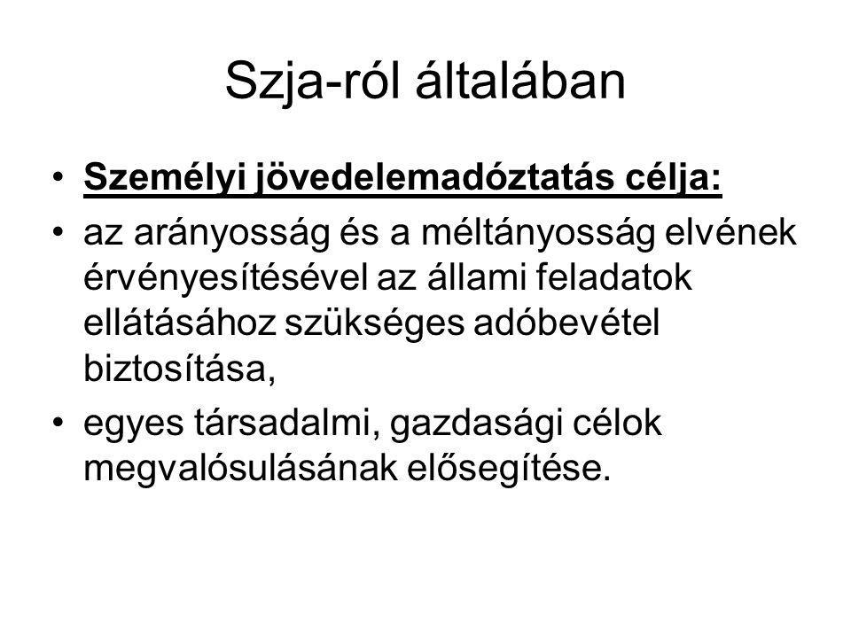 Szja-ról általában Személyi jövedelemadóztatás célja:
