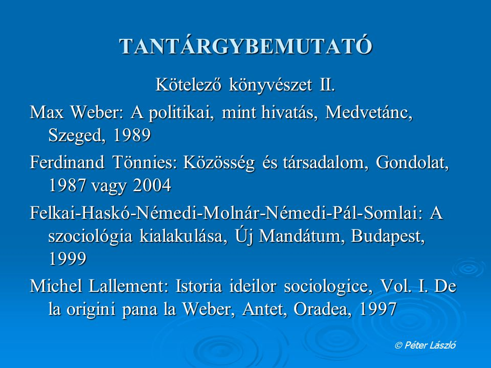 Kötelező könyvészet II.