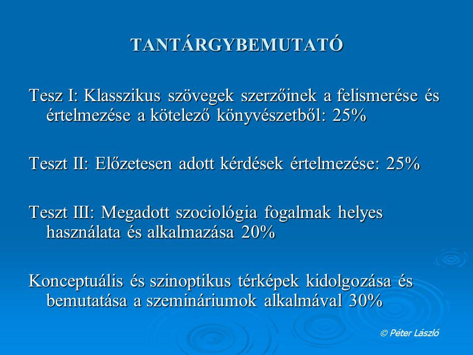 Teszt II: Előzetesen adott kérdések értelmezése: 25%