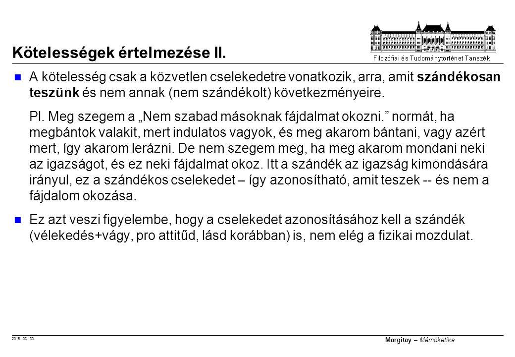 Kötelességek értelmezése II.