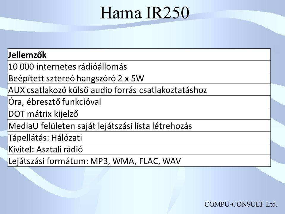 Hama IR250 Jellemzők 10 000 internetes rádióállomás
