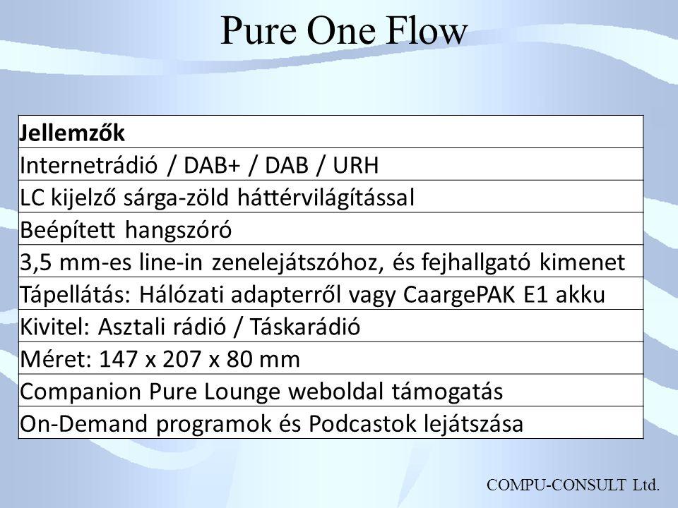 Pure One Flow Jellemzők Internetrádió / DAB+ / DAB / URH