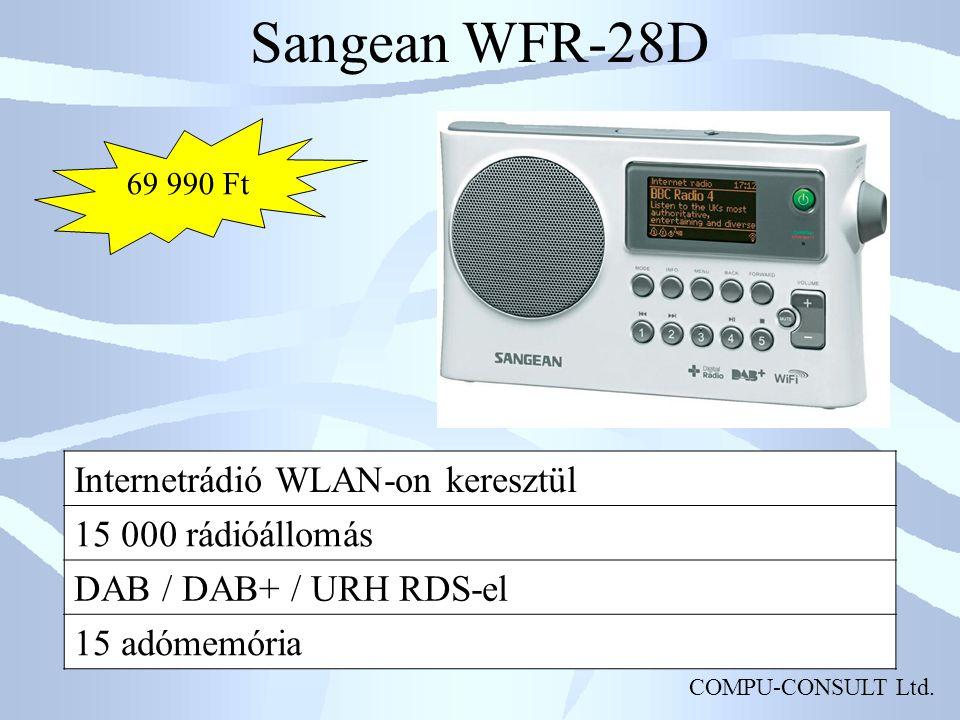 Sangean WFR-28D Internetrádió WLAN-on keresztül 15 000 rádióállomás