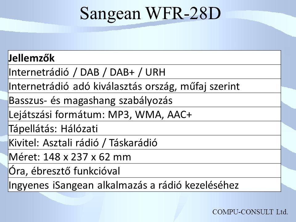 Sangean WFR-28D Jellemzők Internetrádió / DAB / DAB+ / URH