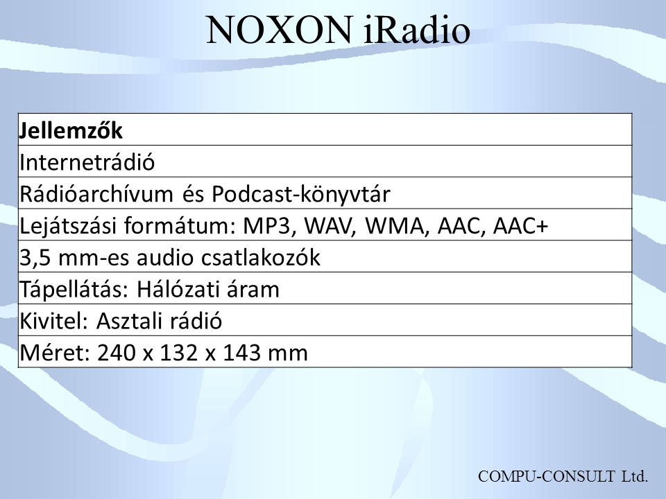 NOXON iRadio Jellemzők Internetrádió Rádióarchívum és Podcast-könyvtár