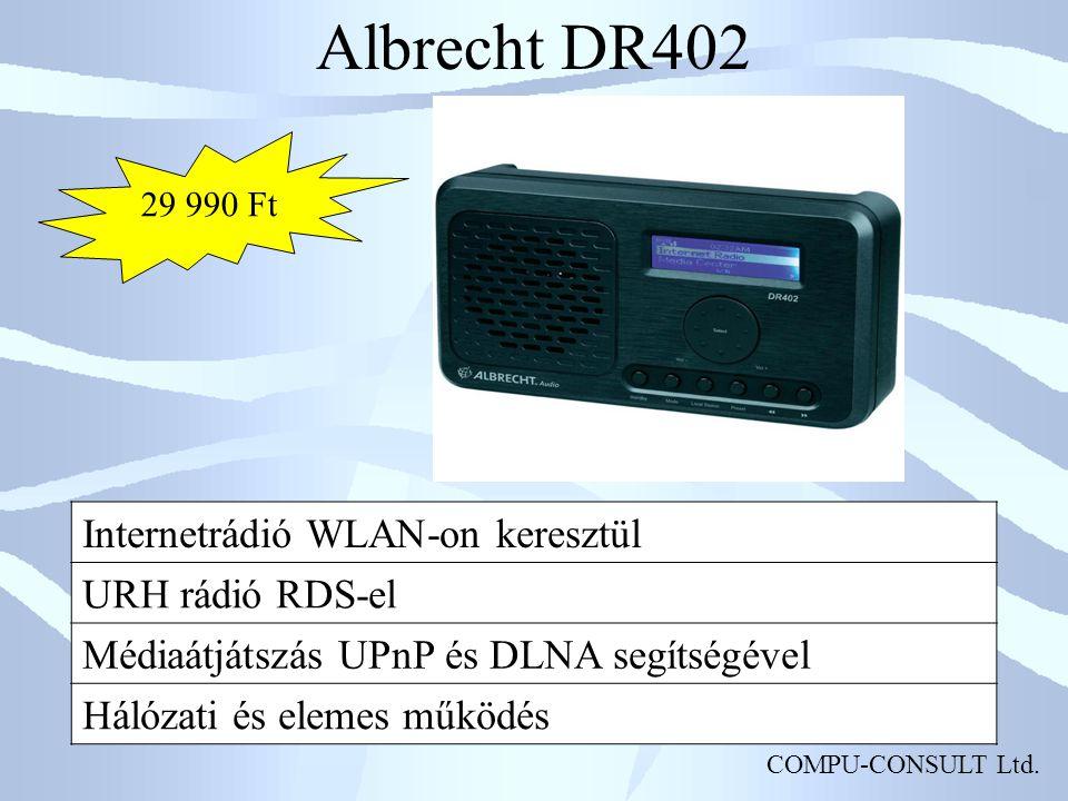Albrecht DR402 Internetrádió WLAN-on keresztül URH rádió RDS-el