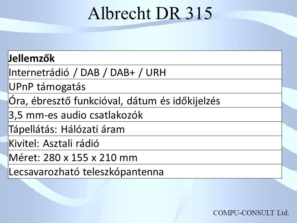 Albrecht DR 315 Jellemzők Internetrádió / DAB / DAB+ / URH