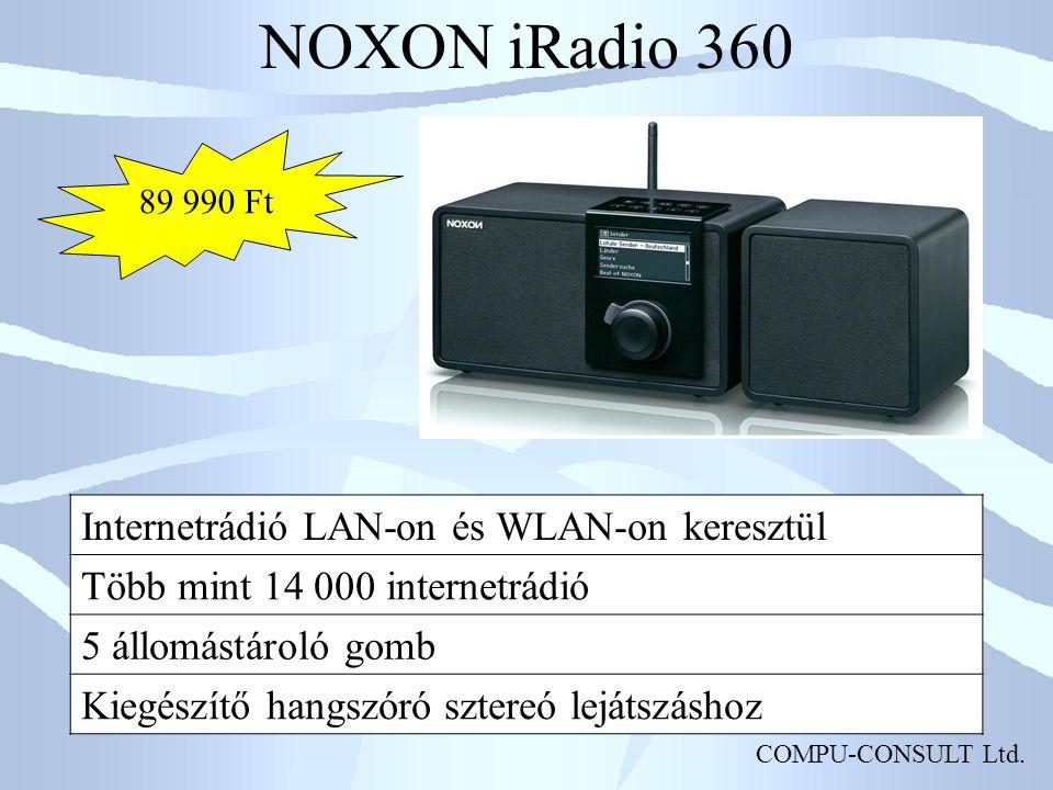 NOXON iRadio 360 Internetrádió LAN-on és WLAN-on keresztül