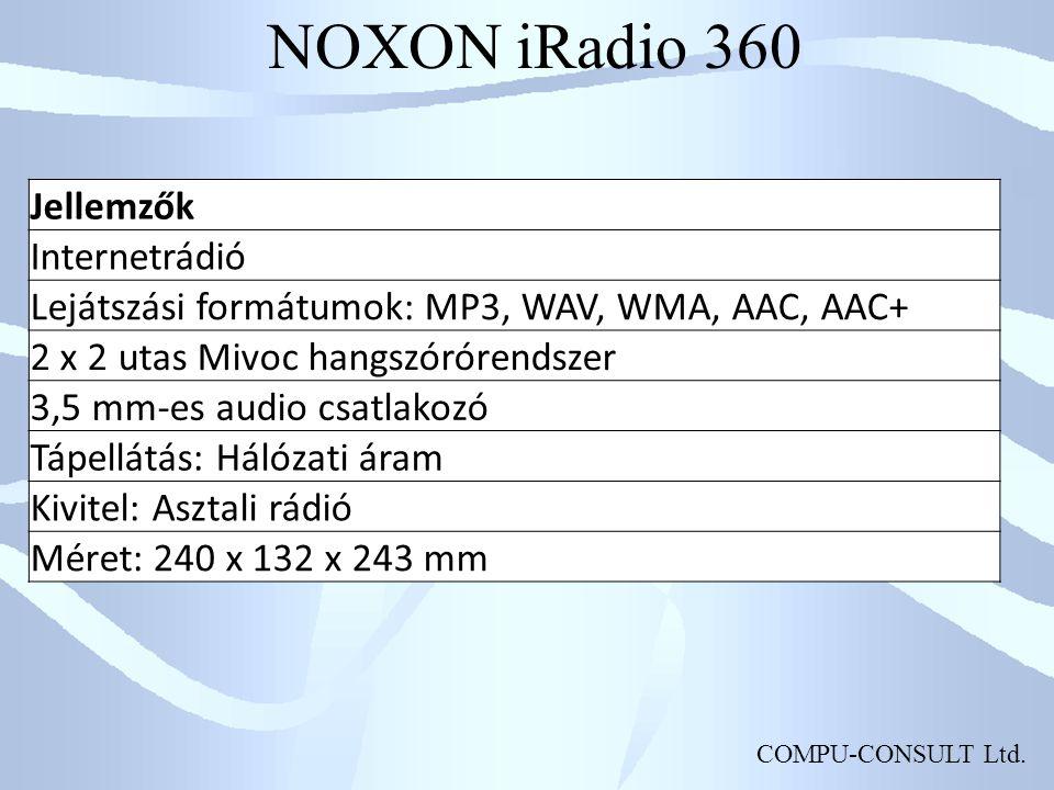 NOXON iRadio 360 Jellemzők Internetrádió