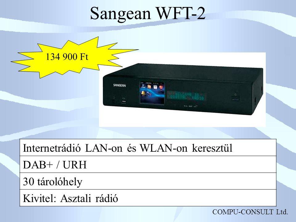 Sangean WFT-2 Internetrádió LAN-on és WLAN-on keresztül DAB+ / URH