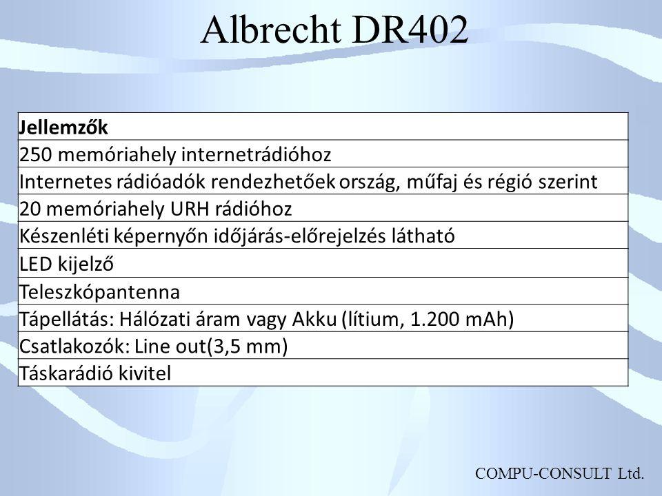 Albrecht DR402 Jellemzők 250 memóriahely internetrádióhoz
