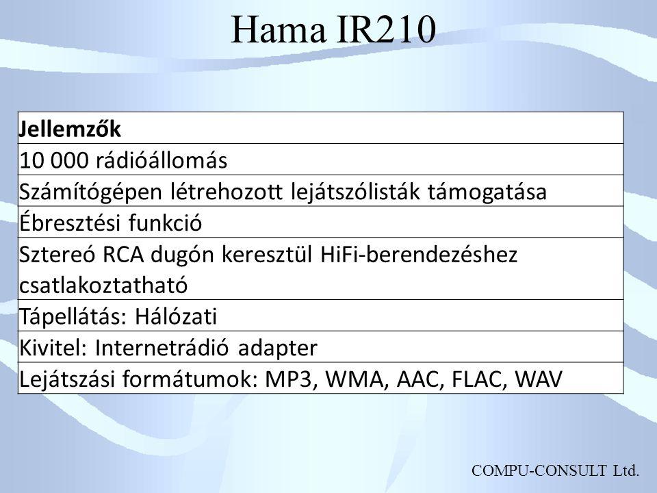 Hama IR210 Jellemzők 10 000 rádióállomás