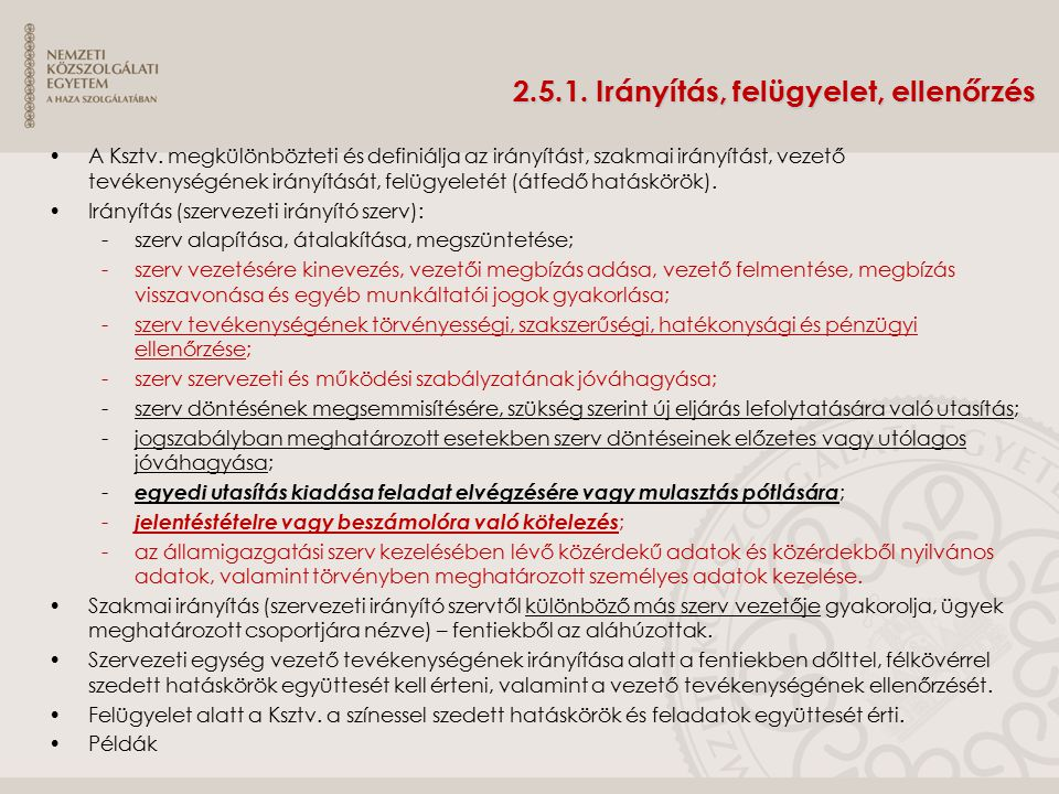 2.5.1. Irányítás, felügyelet, ellenőrzés