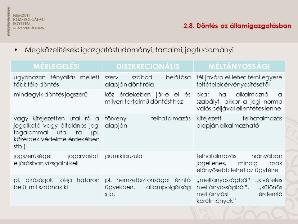 2.8. Döntés az államigazgatásban