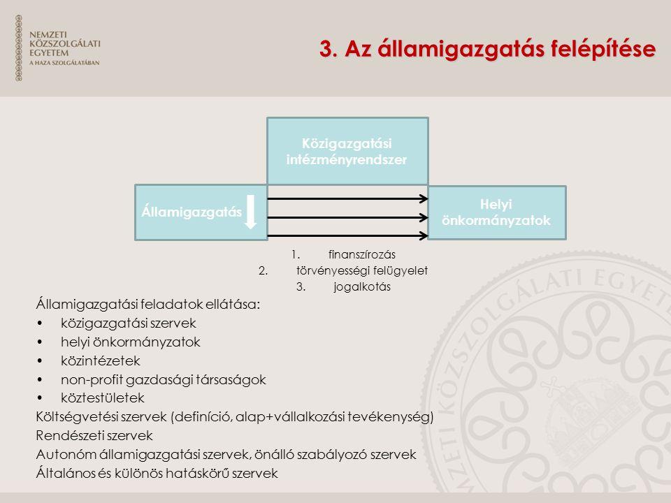 3. Az államigazgatás felépítése