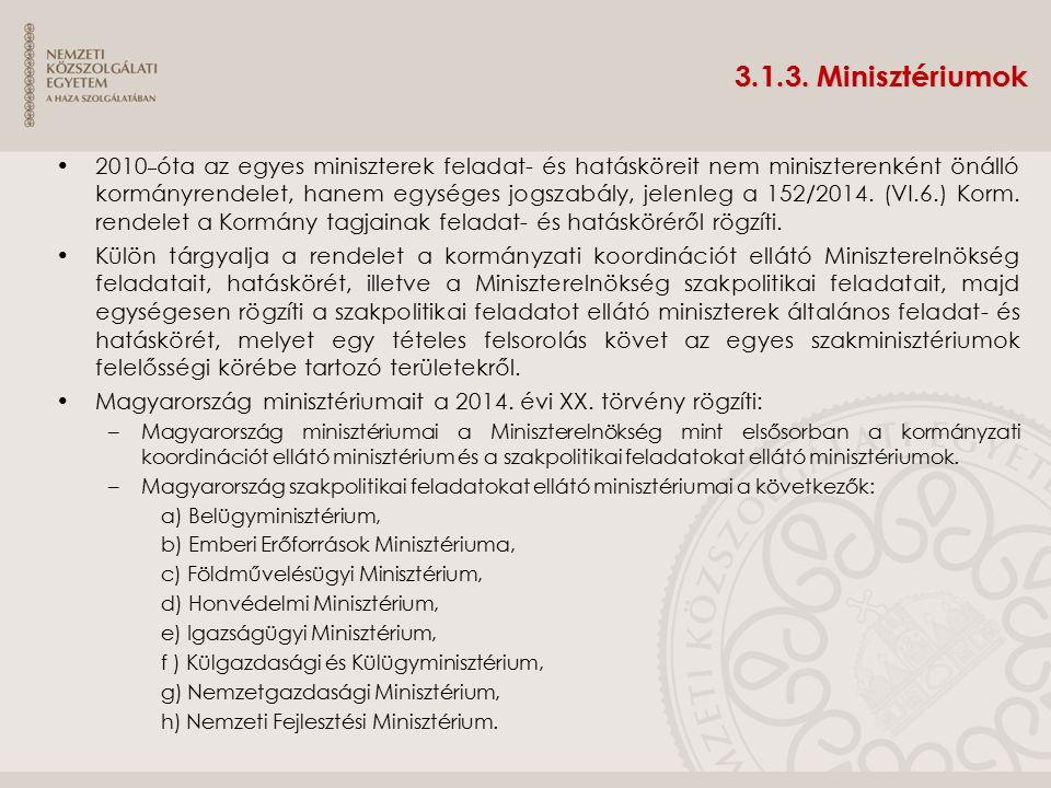 3.1.3. Minisztériumok