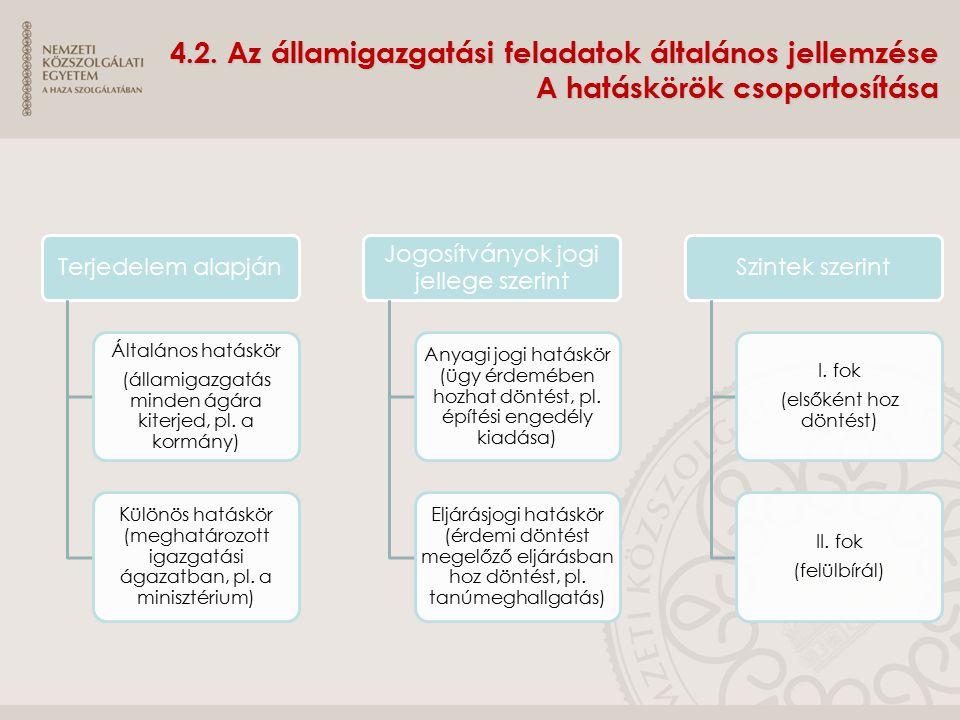 4.2. Az államigazgatási feladatok általános jellemzése A hatáskörök csoportosítása