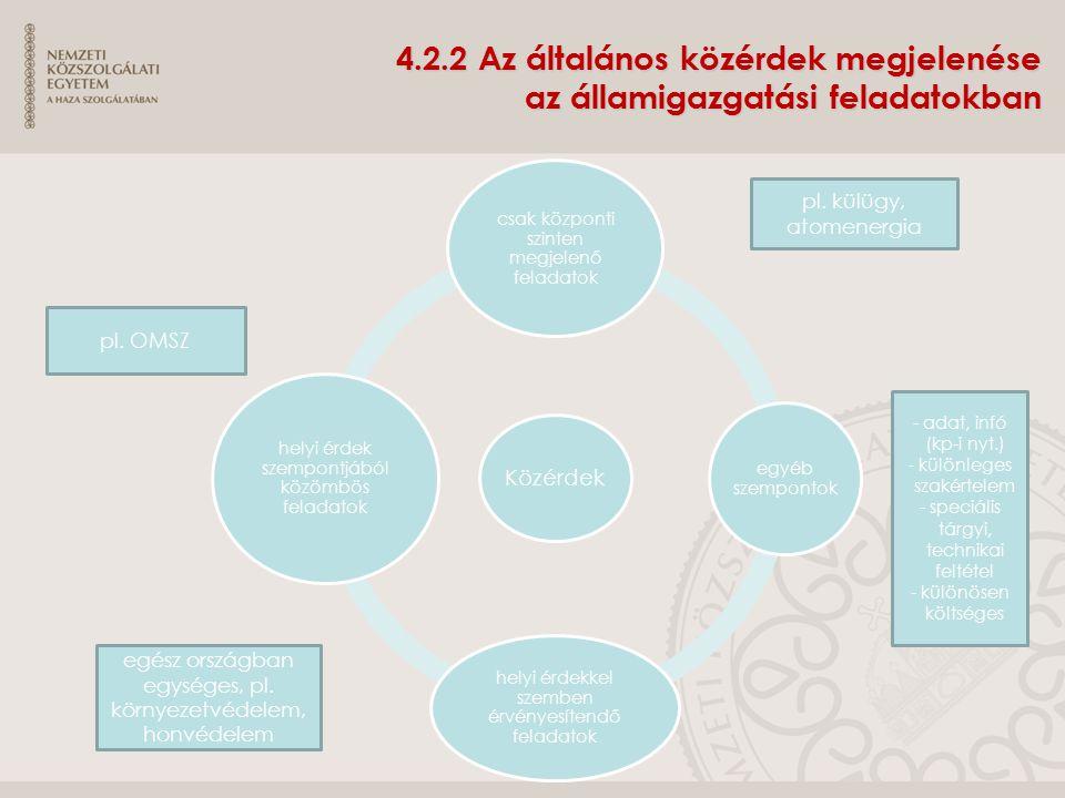 4.2.2 Az általános közérdek megjelenése az államigazgatási feladatokban