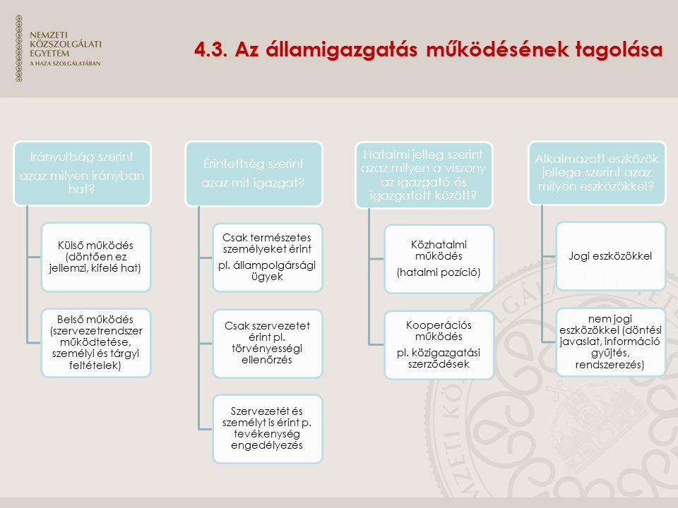 4.3. Az államigazgatás működésének tagolása