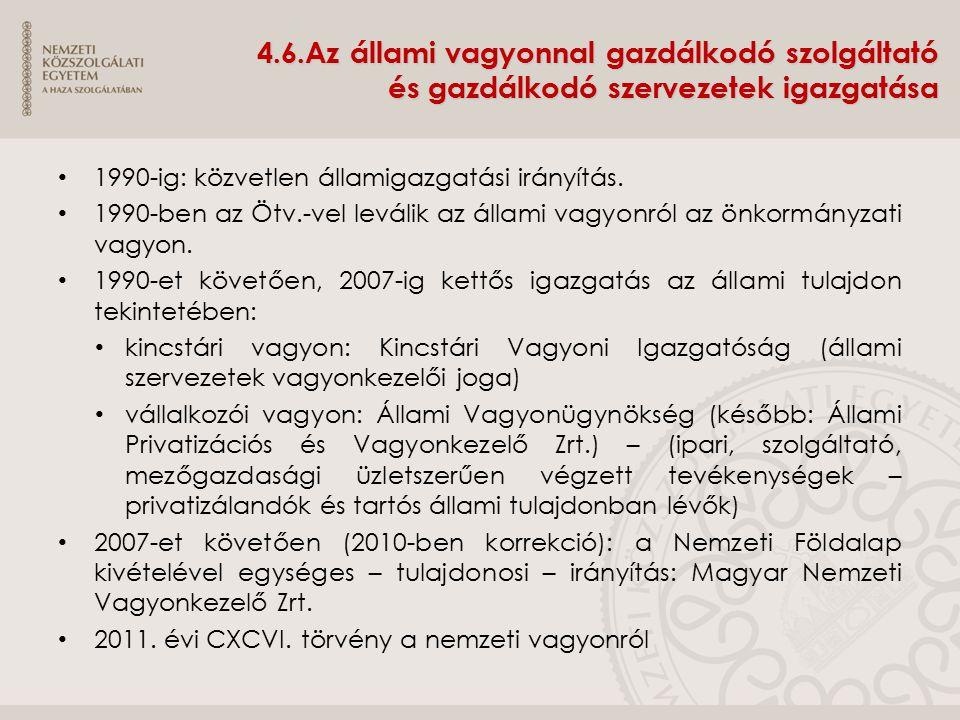 4.6.Az állami vagyonnal gazdálkodó szolgáltató és gazdálkodó szervezetek igazgatása