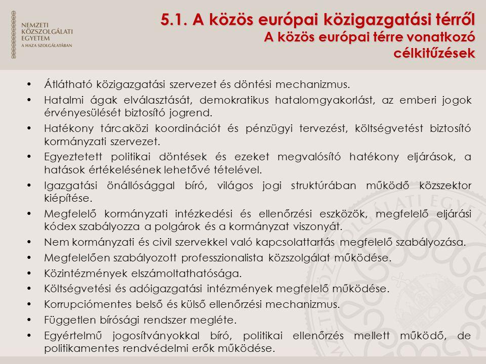 5.1. A közös európai közigazgatási térről A közös európai térre vonatkozó célkitűzések
