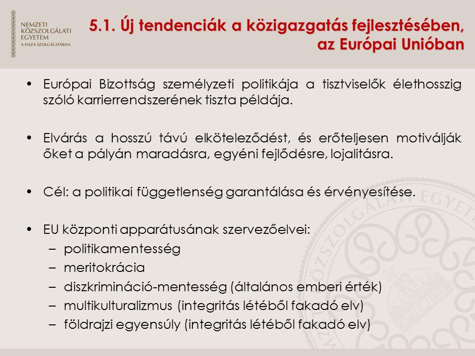 5.1. Új tendenciák a közigazgatás fejlesztésében, az Európai Unióban