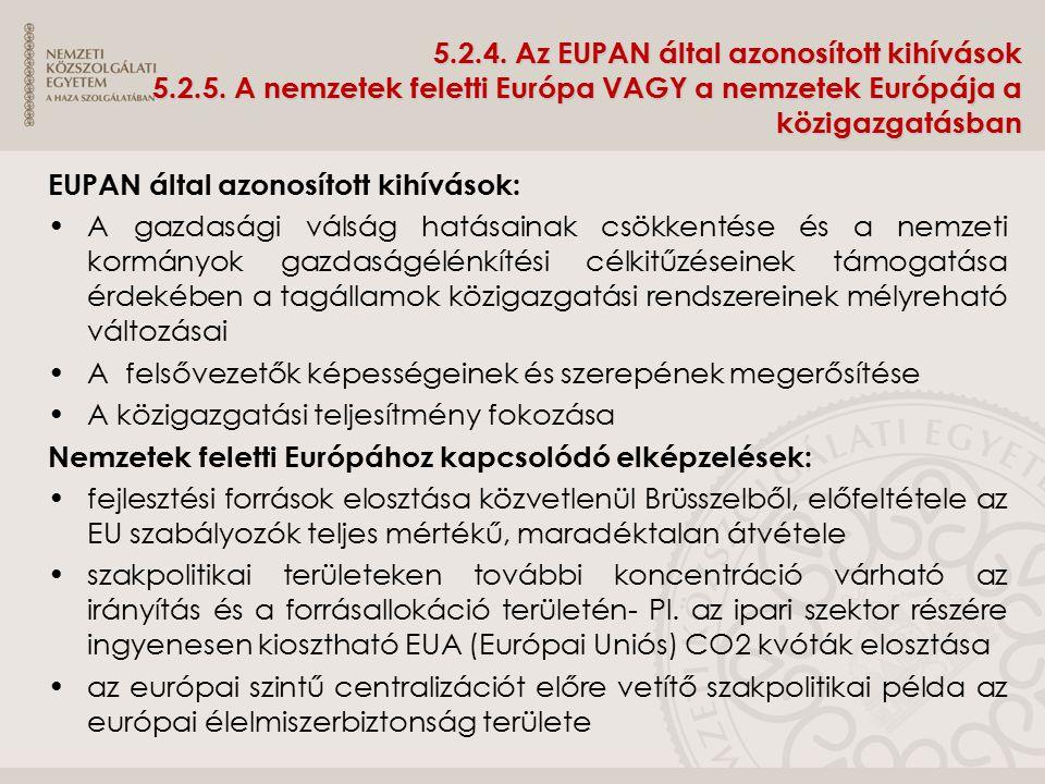 5. 2. 4. Az EUPAN által azonosított kihívások 5. 2. 5