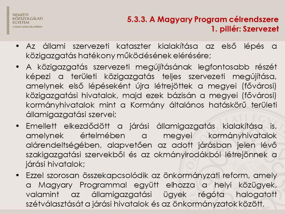 5.3.3. A Magyary Program célrendszere 1. pillér: Szervezet