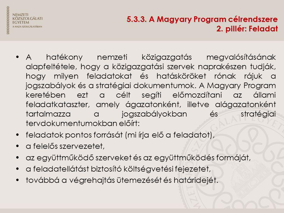 5.3.3. A Magyary Program célrendszere 2. pillér: Feladat