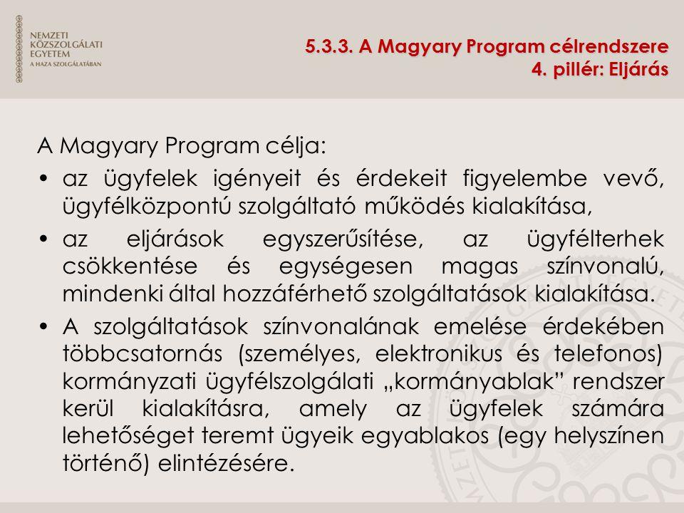 5.3.3. A Magyary Program célrendszere 4. pillér: Eljárás