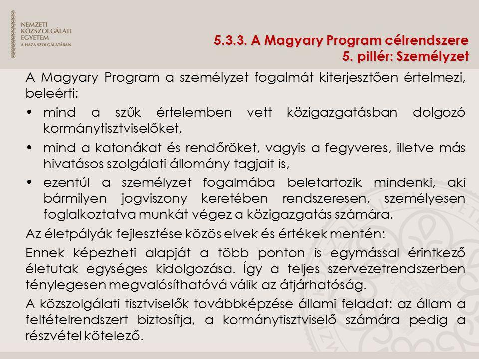 5.3.3. A Magyary Program célrendszere 5. pillér: Személyzet