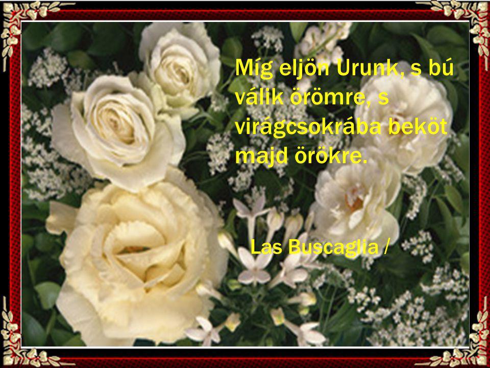 Míg eljön Urunk, s bú válik örömre, s virágcsokrába beköt majd örökre.