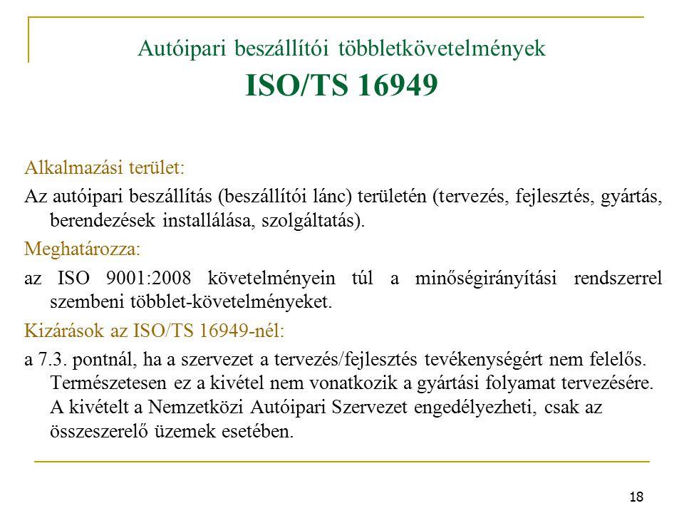 Autóipari beszállítói többletkövetelmények ISO/TS 16949