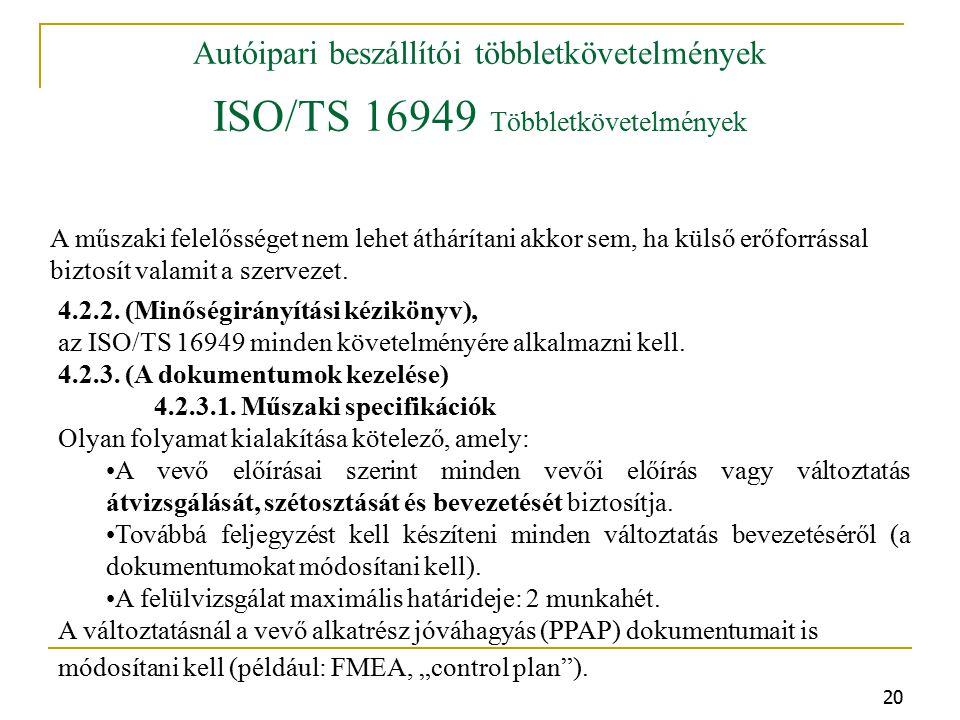 Autóipari beszállítói többletkövetelmények ISO/TS 16949 Többletkövetelmények