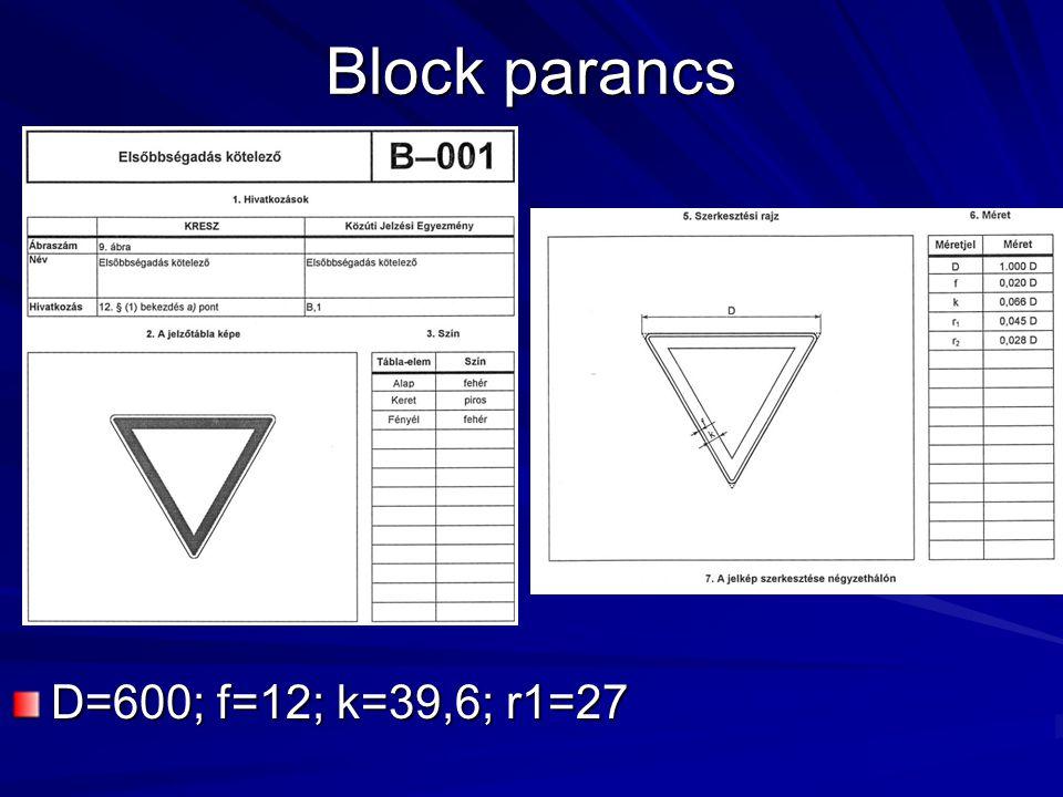 Block parancs D=600; f=12; k=39,6; r1=27