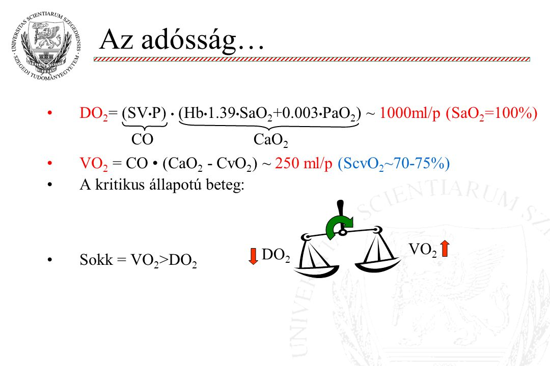 Az adósság… DO2= (SV•P) • (Hb•1.39•SaO2+0.003•PaO2) ~ 1000ml/p (SaO2=100%) VO2 = CO • (CaO2 - CvO2) ~ 250 ml/p (ScvO2~70-75%)