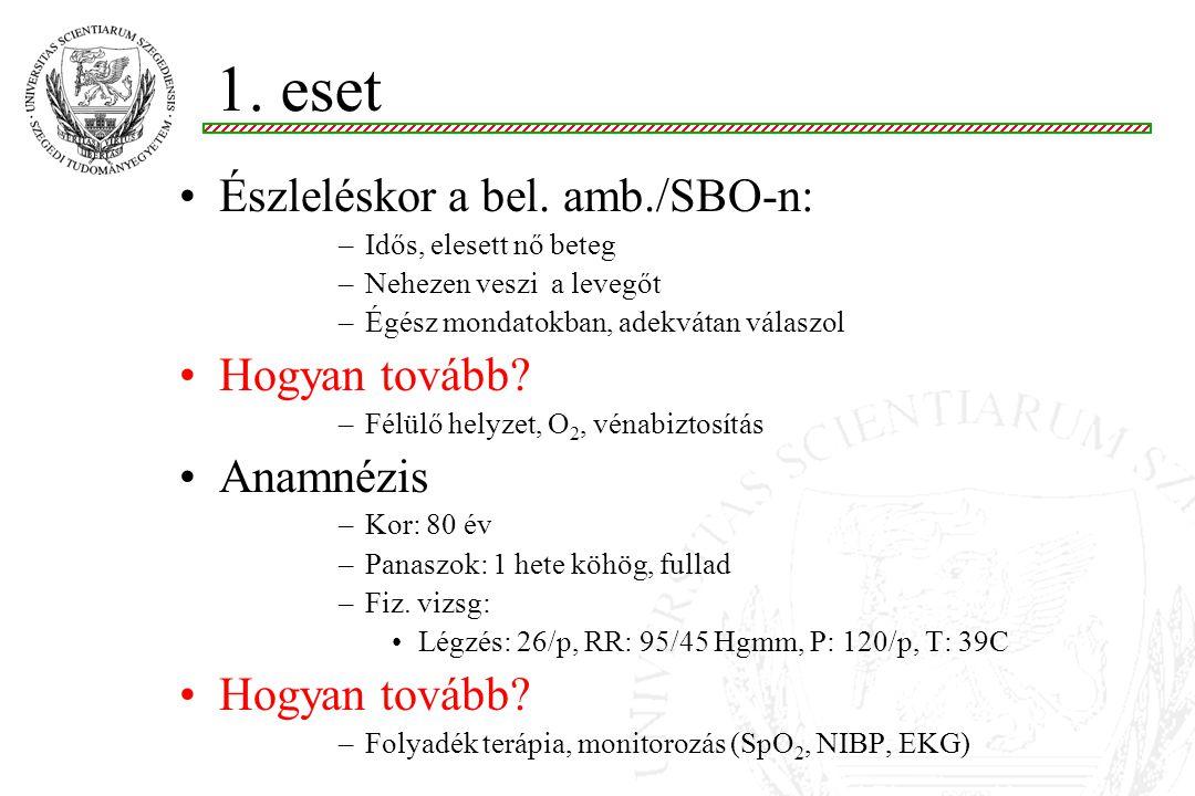 1. eset Észleléskor a bel. amb./SBO-n: Hogyan tovább Anamnézis