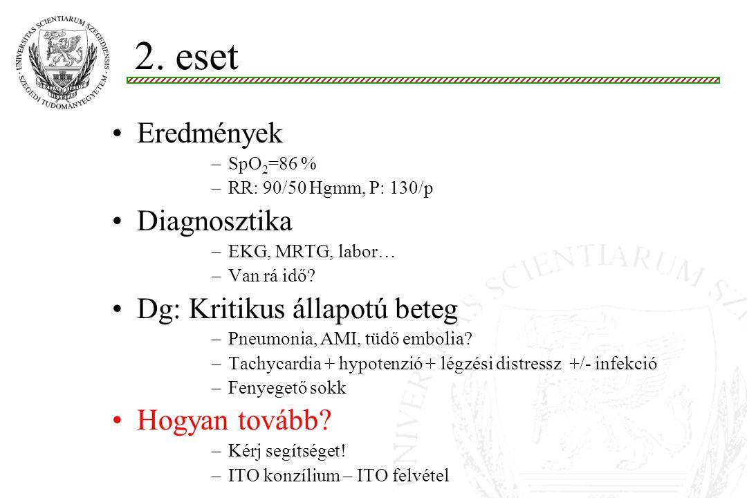 2. eset Eredmények Diagnosztika Dg: Kritikus állapotú beteg