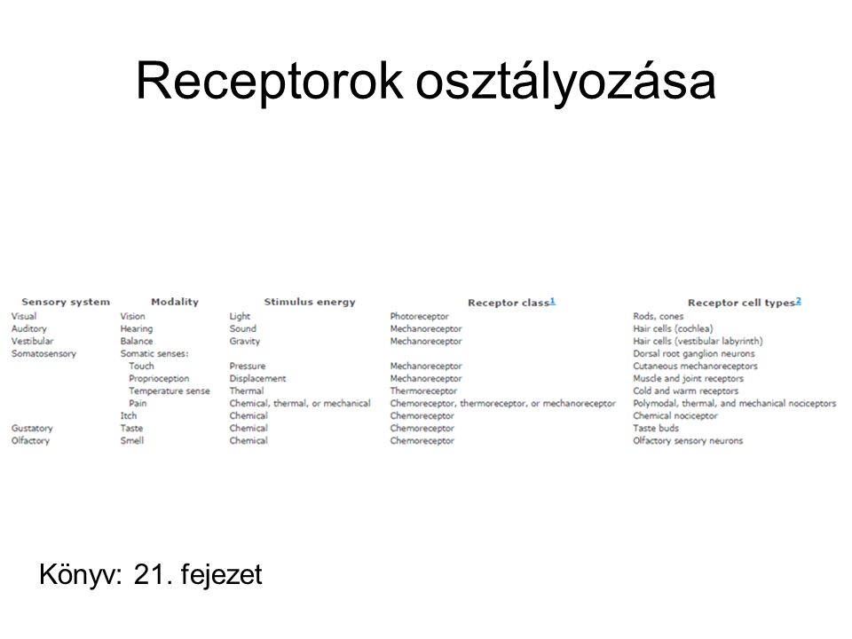 Receptorok osztályozása