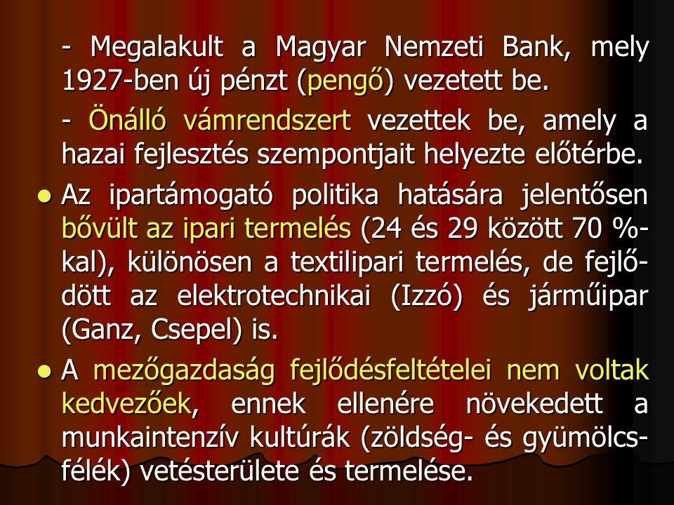 - Megalakult a Magyar Nemzeti Bank, mely 1927-ben új pénzt (pengő) vezetett be.